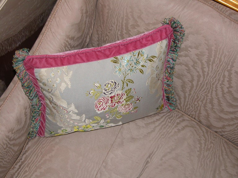 Louis XV French Silk Brocade Throw Pillow with Loop Fringe & Velvet Ribbon Trimming For Sale