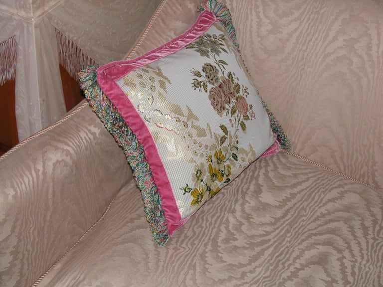Woven French Silk Brocade Throw Pillow with Loop Fringe & Velvet Ribbon Trimming For Sale