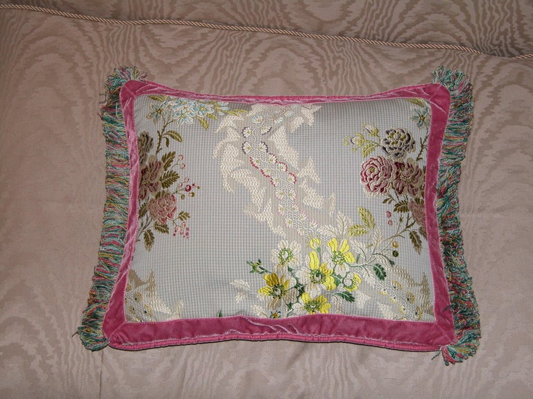 French Silk Brocade Throw Pillow with Loop Fringe & Velvet Ribbon Trimming In Excellent Condition For Sale In Pittsburgh, PA
