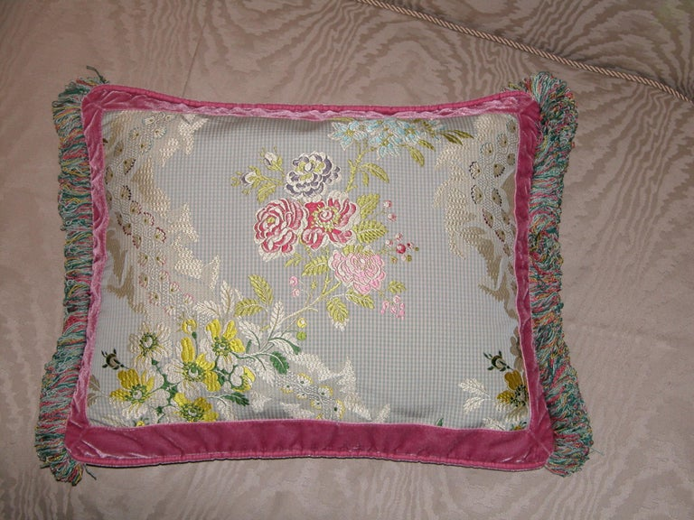 20th Century French Silk Brocade Throw Pillow with Loop Fringe & Velvet Ribbon Trimming For Sale