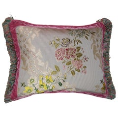 French Silk Brocade Throw Pillow with Loop Fringe & Velvet Ribbon Trimming