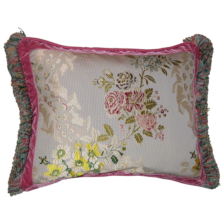 French Silk Brocade Throw Pillow with Loop Fringe & Velvet Ribbon Trimming For Sale
