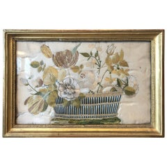 French Silk Needlepoint of Flowers in Basket