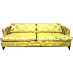French Silk Quatrefoil Chartreuse Custom Contemporary Sofa