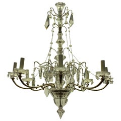 French Silver and Cut Glass Chandelier