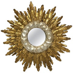 French Silver and Gilt Starburst or Sunburst Mirror (Diameter 13)