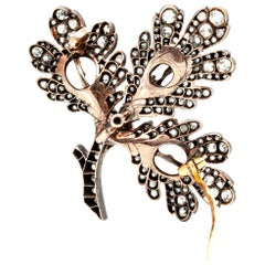 French Silver and Gold Brooch with Pearl and Diamonds