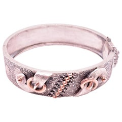 French Silver and Gold Buckle Bangle