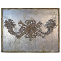 French Silver and Gold Pair of Carved Cornucopia Panel, circa 1930s
