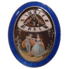 French Silver and Guilloche Enamel Timepiece with Hand Painted Picture