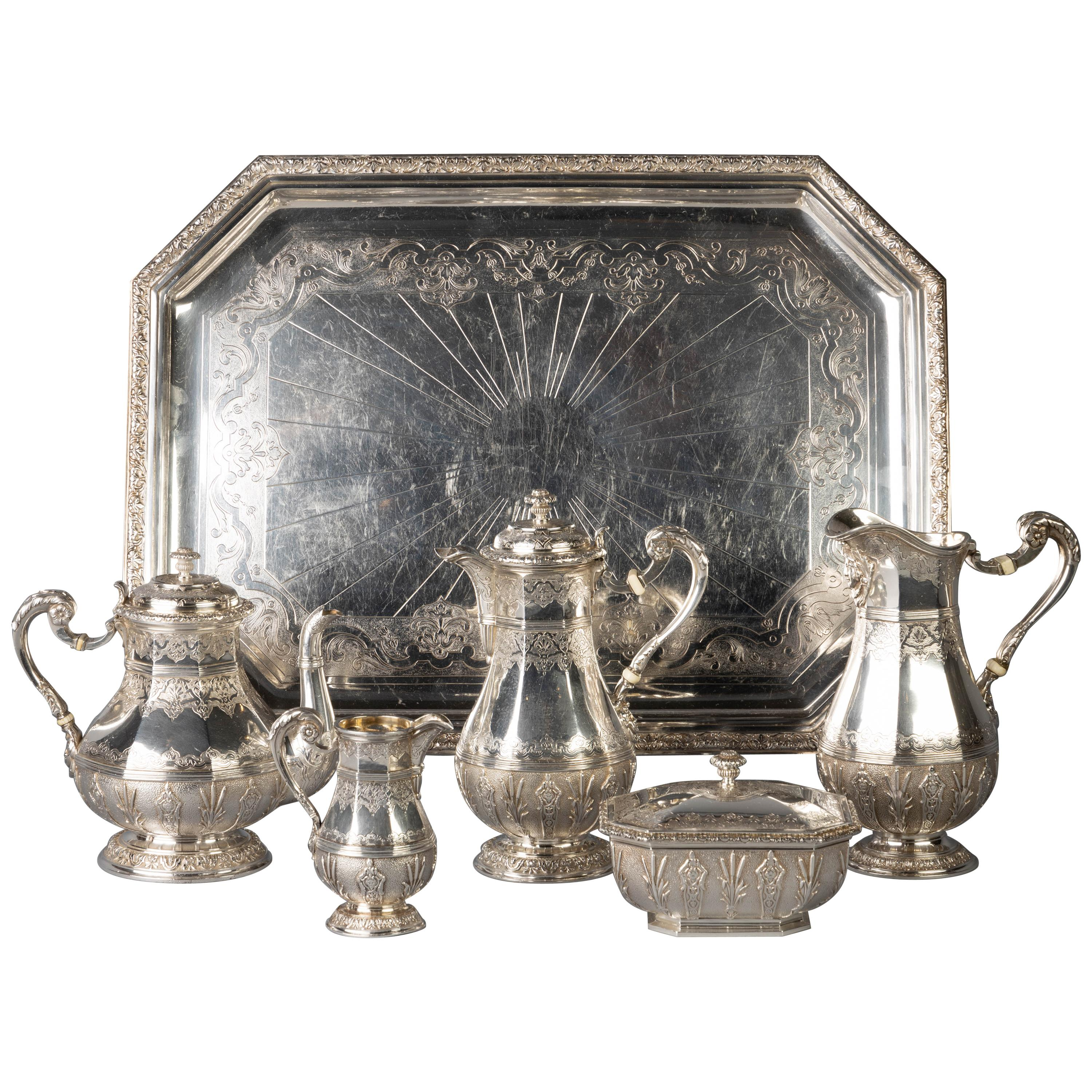 French Silver Five Piece Tea Service, Cardeilhac and Co., circa 1875