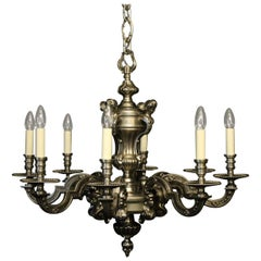 French Silver Gilded Bronze 8-Light Antique Chandelier