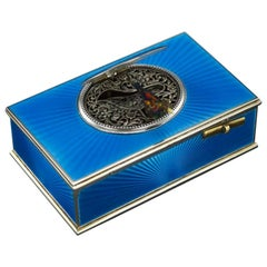 French Silver-Gilt and Enamel Bird Automaton Box, circa 1910