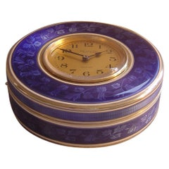 French Silver Gilt and Floral Patterned Guilloche Enamel Clock Box