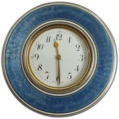 French Silver Gilt and Grey/Blue Guilloche Enamel Box with 8-Day Clock to Lid
