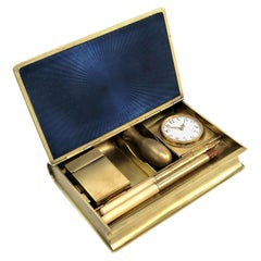 French Silver Gilt & Enamel Writing Desk Set circa 1890 Pen Pencil Clock Seal