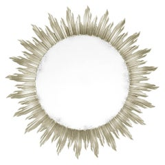 French Silver Gilt Sunburst Mirror