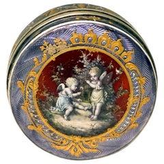 French Silver Guilloche-Enamel Box with Delicate Decoration Paris, circa 1900