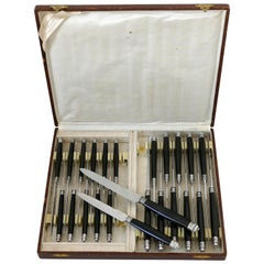 French Silver Horn Dinner Dessert Knife Set of 24 Pieces, Box
