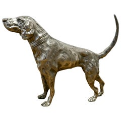 French Silver Hunting Dog Desk Ornament