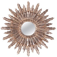 French Silver Leaf Carved Sunburst Mirror
