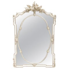 French Silver Leafed Carved Giltwood Mirror
