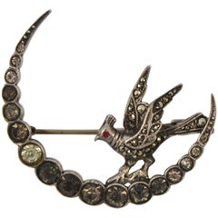 French Silver Marcasite and Rhinestone Crescent Moon and Bird Brooch circa 1930s
