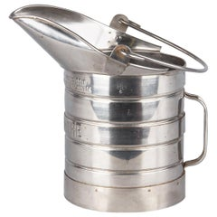 French Silver Metal Measuring Milk Pitcher, 1950s