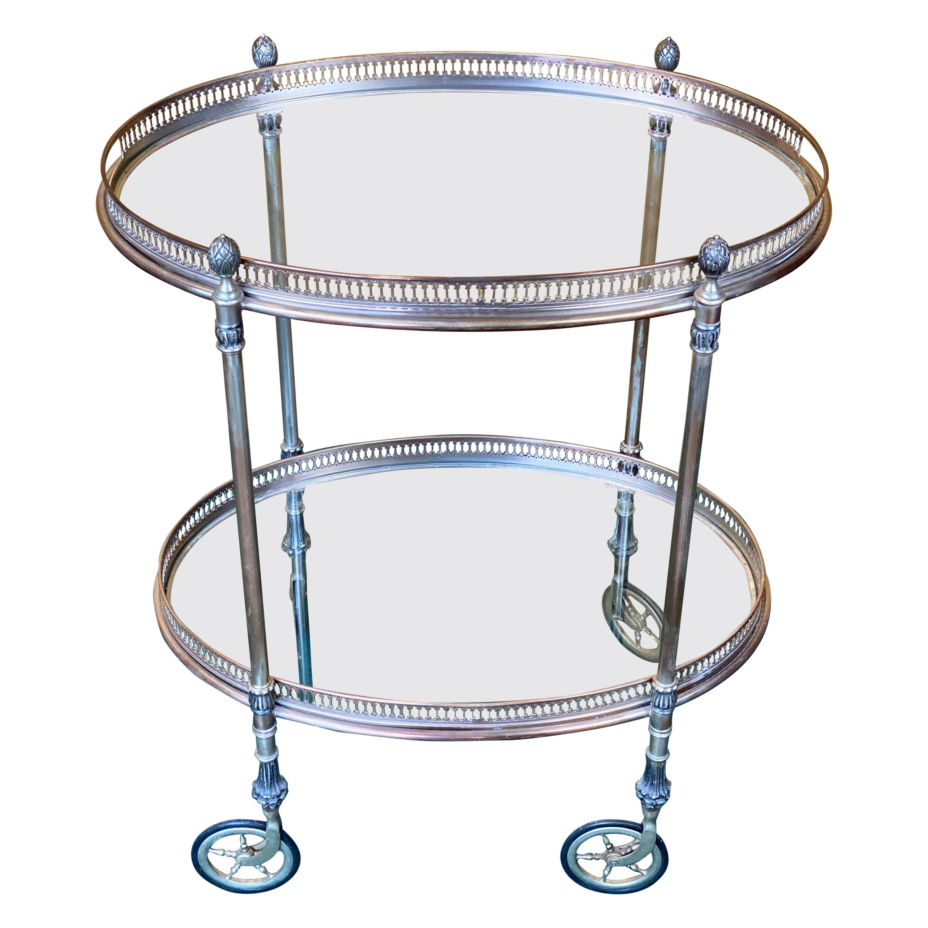 French Silver Metal Oval Bar Cart Trolley Attributed to Maison Baguès, 1950s