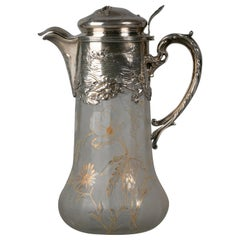 French Silver Mounted and Glass Wine Decanter, circa 1900