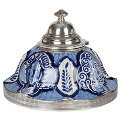 French Silver Mounted Blue & White Pottery Faience Inkwell