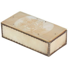French Silver Mounted Mother of Pearl Engraved Box, circa 1800