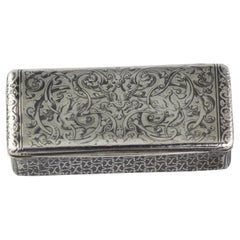 French Silver Niello Snuff Box, 19th Century