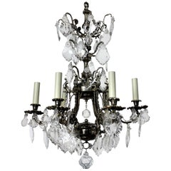 French Silver Plated Bronze and Cut-Glass Cage Chandelier