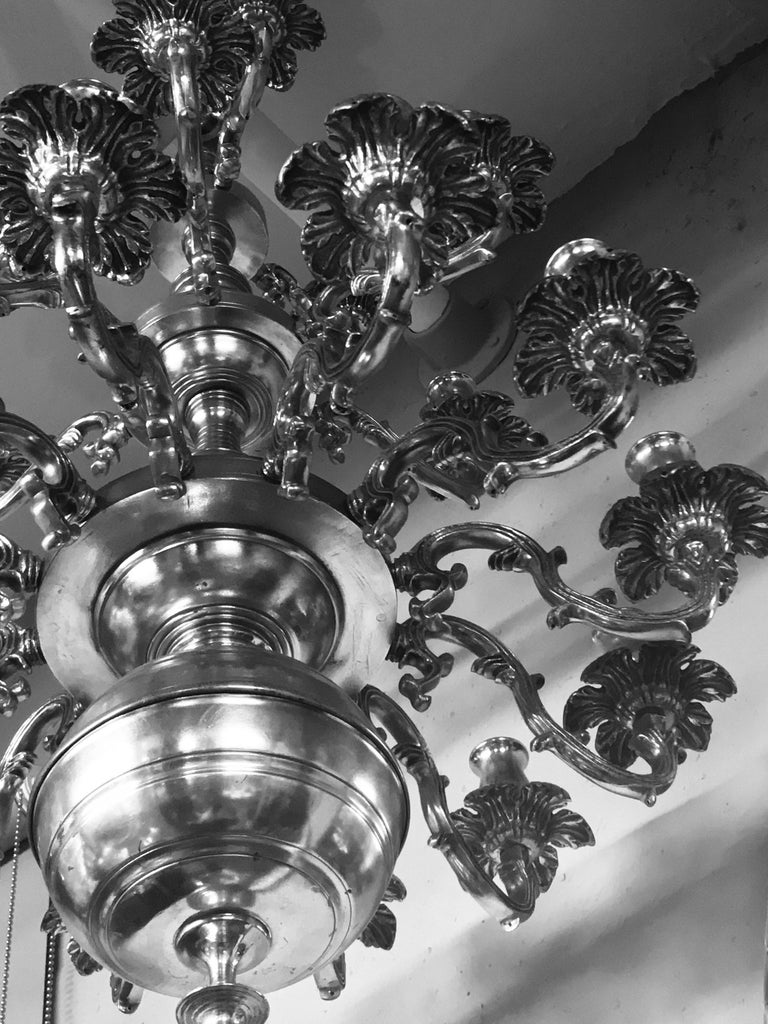 French Silver Plated Bronze Chandelier 1