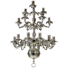 French Silver Plated Bronze Chandelier