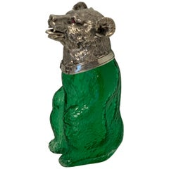 French Silver Plated Figural Bear Motif Decanter