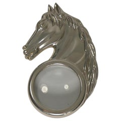 French Silver Plated Figural Magnifying Glass, Horse