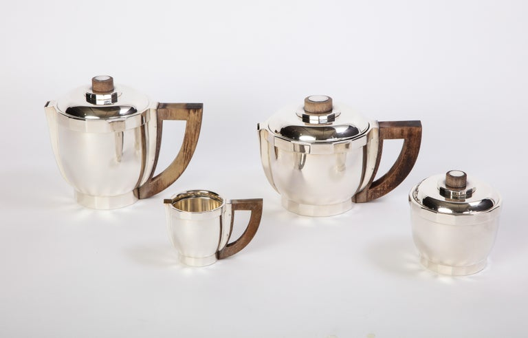 French Silver-Plated Four-Piece Puiforcat Tea and Coffee Service, Circa 1990 In Good Condition For Sale In New York, NY