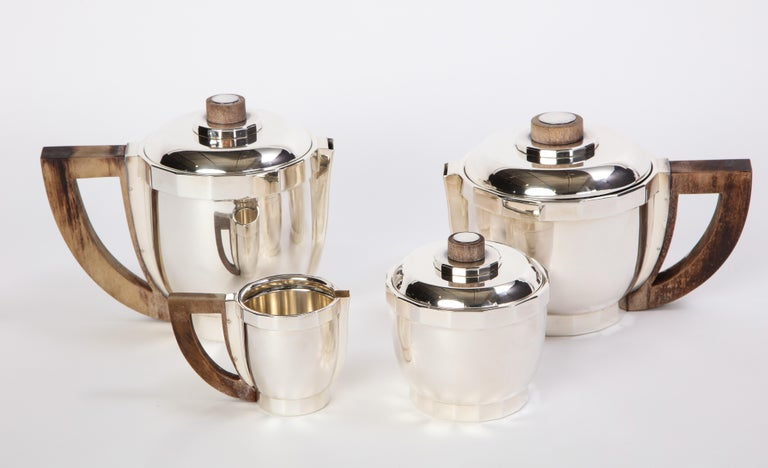 Late 20th Century French Silver-Plated Four-Piece Puiforcat Tea and Coffee Service, circa 1990 For Sale