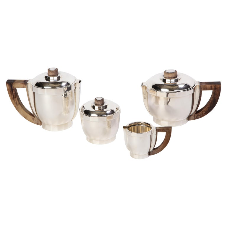 French Silver-Plated Four-Piece Puiforcat Tea and Coffee Service, circa 1990 For Sale