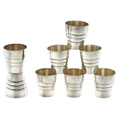 French Silver Shot Glasses, Set of 8