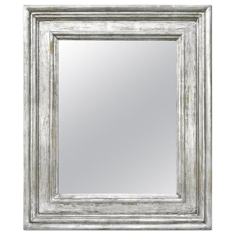"""French Silver Wood Mirror, Frame Inspiration """"Braque"""" by Pascal & Annie For Sale"""
