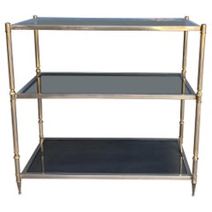 French Silvered Brass Console with Smoked Glass Shelves