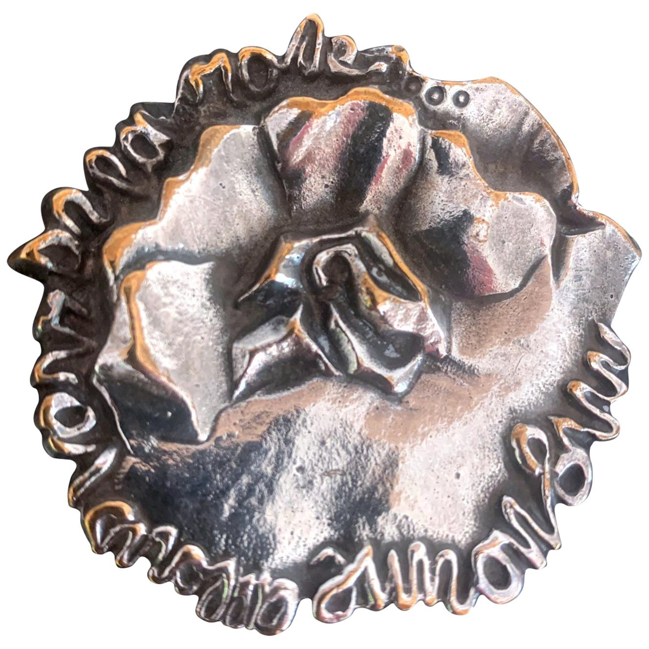 French Silvered Bronze Brooch by Line Vautrin