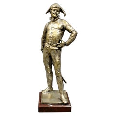 French Silvered Bronze Figure of a Harlequin