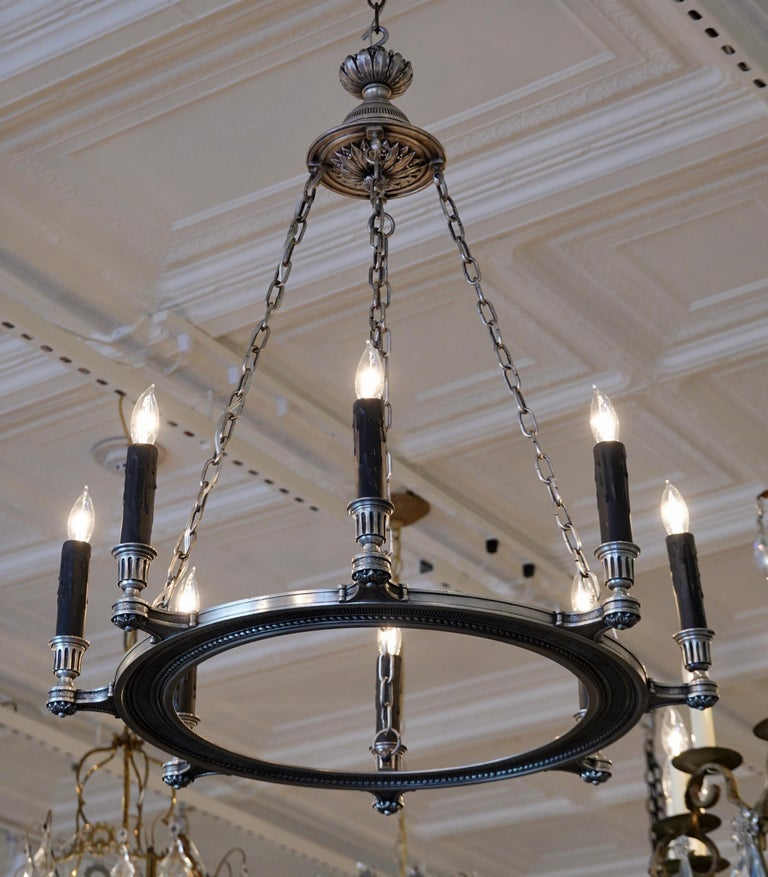 French Silvered-Bronze Neoclassical Chandelier In Good Condition For Sale In Charleston, SC