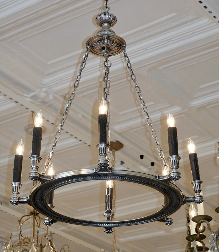 20th Century French Silvered-Bronze Neoclassical Chandelier For Sale