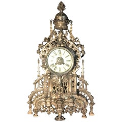 French Silvered Gothic Cathedral Mantel or Table Clock, 19th Century