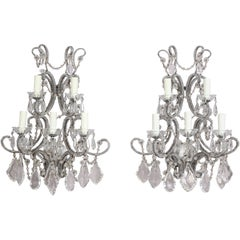 French Silvered Iron and Crystal Beaded Sconces